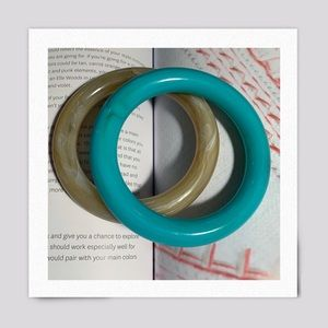 Vintage Acrylic Olive and Turquoise Bangles